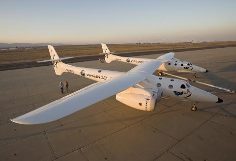 Virgin Galactic's WhiteKnightTwo with Burt Rutan and Richard Branson