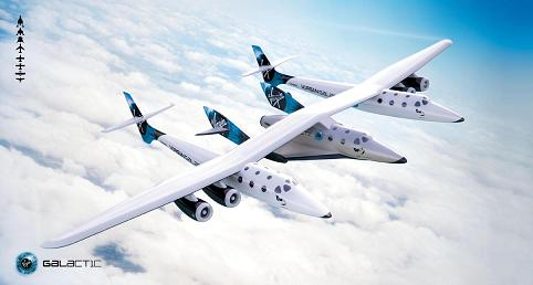 Artist conception of WhiteKnightTwo and SpaceShipTwo in flight (credit: Virgin Galactic)