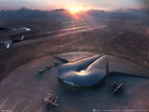 Artist Impression of Virgin Galactic's WhiteKnightTwo/SpaceShipOne over Spaceport America in New Mexico.