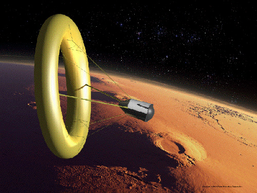 A Global Aerospace ballute performs aerocapture at Mars (credit: Kees Veenenbos).