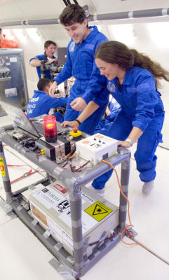 Students performe an experiment in microgravity aboard the Airbus A300 Zero-G plane.