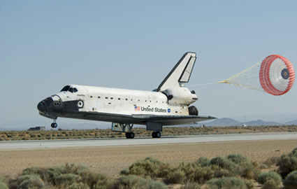 Space shuttle Atlantis lands at Edwards Air Force Base in California, completing the final servicing mission to the Hubble Space Telescope. Image Credit: NASA/Carla Thomas
