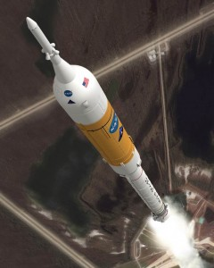 NASA's Ares I rocket lifts off in this artist's conception. (Credit: NASA)