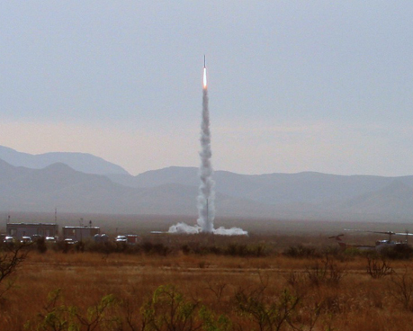 UP Aerospace Spaceloft XL rocket lifts off from Spaceport America in New Mexico on May 2, 2009.