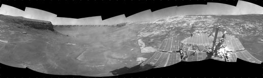 NASA Mars Exploration Rover Opportunity used its navigation camera to take the images combined into this full-circle view of the rover's surroundings on the 1,506th through 1,510th Martian days, or sols, of Opportunity's mission on Mars (April 19-23, 2008). South is at the center; north is at both ends.