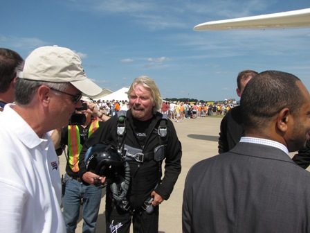 Richard Branson after his first flight aboard WhiteKnightTwo at the Oshkosh airshow.