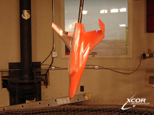 The Lynx wind tunnel model is tested with red dye at the Air Force Research Laboratory, located on Wright-Patterson AFB.