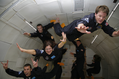 As the plane flew over the waters of the Atlantic Ocean, teachers conducted a range of experiments, including soaring like Superman, as they experienced lunar, Martian and zero gravity. Pictured: James Janski, Wells Road Intermediate School, Granby, CT (top row, left); Geoffrey Bergen, Whisconier Middle School, Brookfield, CT (top row, right); Michael Gary, J. A. DePaolo Middle School, Southington, CT (second row, right); Nina Rooks Cast, Cooley Health, Science, Technology High School, Providence, RI (second row, left), and Brian Katz, Keansburg High School, Keansburg, NJ (bottom row, left).