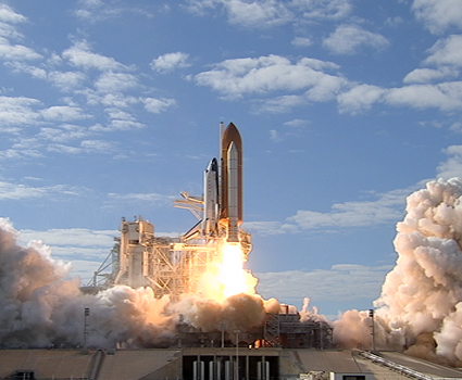 Image above: Space shuttle Atlantis with it crew of six astronauts lifts off from Launch Pad 39A at NASA's Kennedy Space Center in Florida. Photo credit: NASA/TV