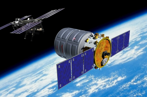 Artist's conception of Orbital Sciences Corporation's Cygnus freighter approaching the International Space Station.
