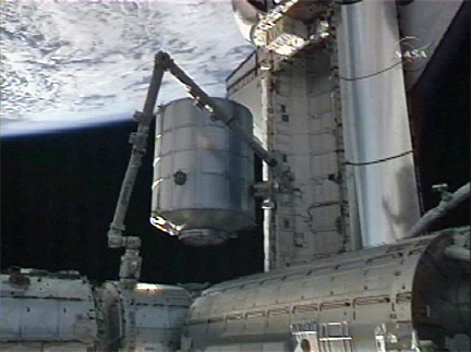 Leonardo cargo module (Credit: NASA TV)
