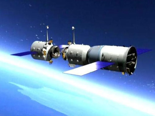 The Tiangong-1 space station with a Shenzhou spacecraft. Credit: CNSA