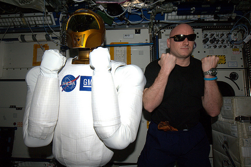R2 with astronaut Scott Kelly aboard the International Space Station. Credit: Credit: ESA/NASA