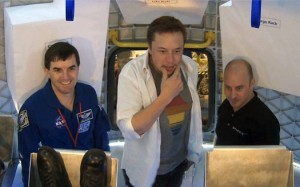 NASA Astronaut Rex Walheim, SpaceX CEO and Chief Designer Elon Musk and SpaceX Commercial Crew Development Manager and former NASA Astronaut Garrett Reisman standing inside the Dragon spacecraft during testing activities. (Credit: SpaceX)