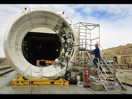 The avionics subsystem and hardware are cleared for Flight Control Test 1, testing the avionics and controls for NASA's Space Launch System booster. (Credit: ATK)