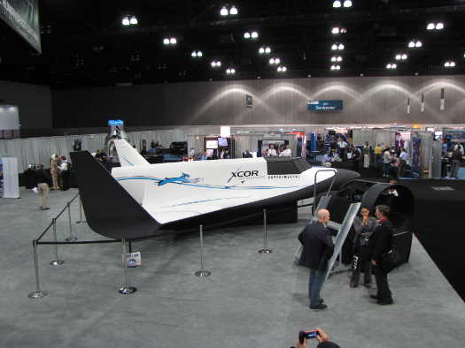 Full-scale mockup of XCOR's Lynx suborbital space plane. (Credit: Douglas Messier)