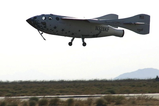 SpaceShipOne lands after its historic spaceflight on June 21, 2004. (Credit: Ian Kluft)