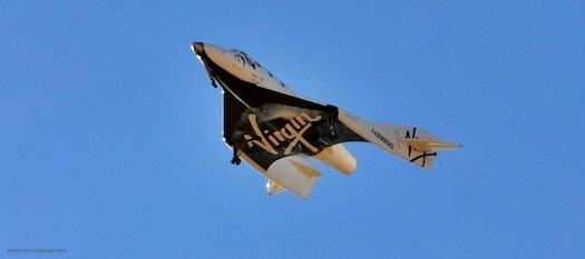 SpaceShipTwo glides to a landing during a test flight on June 26. (Credit: Virgin Galactic/Chris Van Pelt)