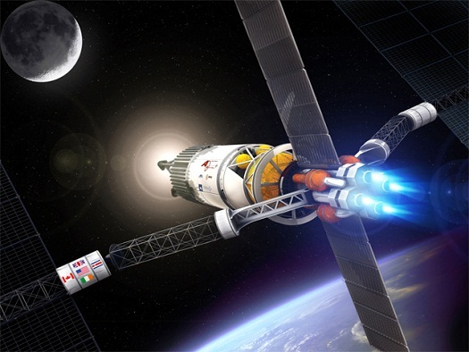 A VASIMR powered space tug. (Credit: Ad Astra Rocket Company)