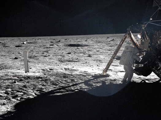 Apollo 11 astronauts trained on Earth to take individual photographs in succession in order to create a series of frames that could be assembled into panoramic images. This frame from Aldrin's panorama of the Apollo 11 landing site is the only good picture of mission commander Neil Armstrong on the lunar surface. (Credit: NASA)