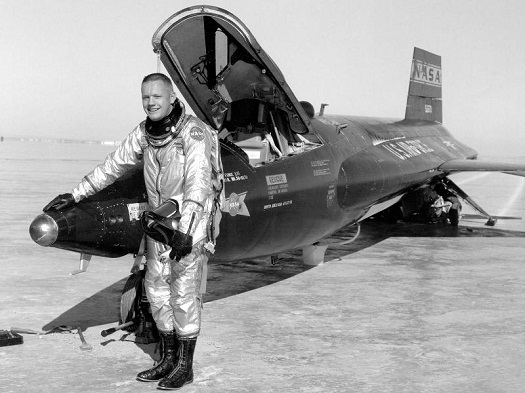 Neil Armstrong with the X-15 on the dry lake bed at Edwards Air Force Base, Calif.