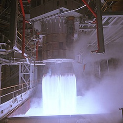 RD-180 test firing. (Credit: NASA)