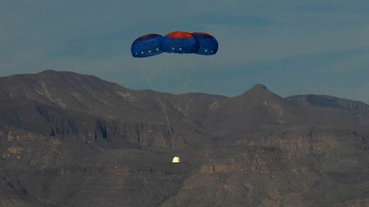 The New Shepard Crew Capsule escaped to an altitude of 2,307 feet before deploying parachutes for a safe return. (Credit: Blue Origin)