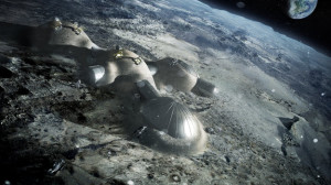 Multi-dome lunar base built with 3D construction. (Credit: Foster + Partners)