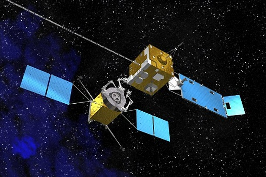 """This artist's concept shows a servicing spacecraft, left, approaching a client satellite. NASA is developing technology needed to bring a high-technology """"gas pump, robotic mechanic and tow truck"""" to satellites in orbit. (Credit: NASA)"""
