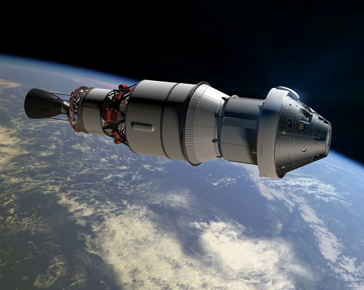 An artist concept shows Orion as it will appear in space for the Exploration Flight Test-1 attached to a Delta IV second stage. (Credit: NASA)