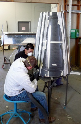 "Xaero-B's ""Boat-tail"" under construction in Masten's Composite Shop. (Credit: Masten Space Systems)"
