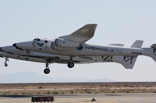 WhiteKnightTwo and SpaceShipTwo take off from Mojave Air and Space Port. (Credit: Virgin Galactic)
