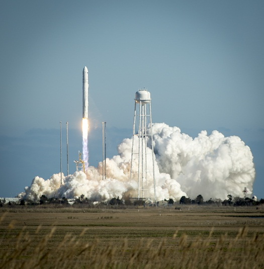 The Orbital Sciences Corporation Antares rocket is seen as it launches from Pad-0A of the Mid-Atlantic Regional Spaceport (MARS) at the NASA Wallops Flight Facility in Virginia, Sunday, April 21, 2013. The test launch marked the first flight of Antares and the first rocket launch from Pad-0A. The Antares rocket delivered the equivalent mass of a spacecraft, a so-called mass simulated payload, into Earth's orbit. Photo (Credit: NASA/Bill Ingalls)