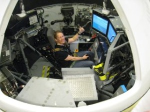 Carina Johnsson in the Dynamic Flight Simulator, part of Spaceport Sweden and QinetiQ spaceflight preparation program, in Linköping, Sweden. (Credit: Spaceport Sweden)