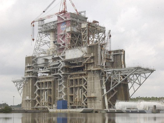 The B-1/B-2 Test Stand is a dual-position, vertical, static-firing structure built at Stennis Space Center in the 1960s. (Credit: NASA/SSC)