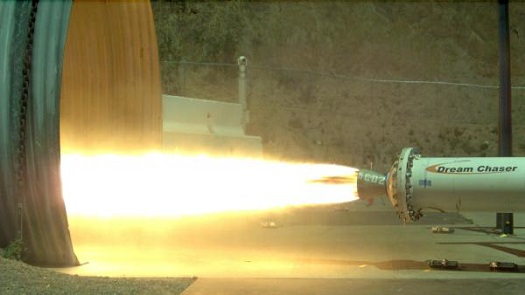 Dream Chaser hybrid motor test on June 4, 2013. (Credit: Sierra Nevada Corporation)