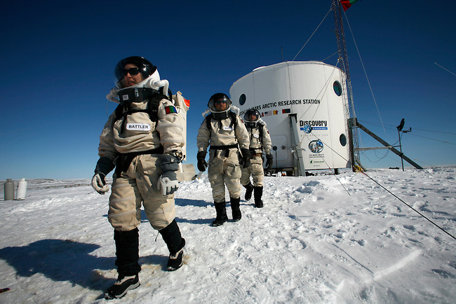 A crew at FMARS in the Canadian Arctic. (Credit: Mars Society)