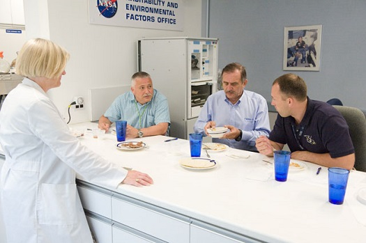 Food tasting session in the Habitability and Environmental Factors Office at NASA's Johnson Space Center. (Credit: NASA/Mark Sowa)