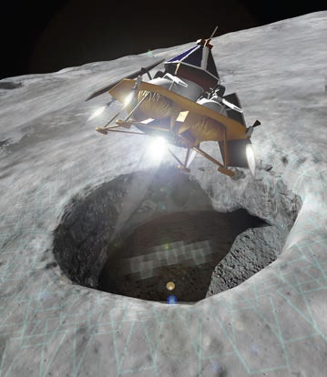 Astrobotic's 2015 mission explores a lunar skylight that may be an entrance to a subsurface cave network. A SpaceX Falcon 9 , currently under contract , launches and performs trans-lunar injection. The spacecraft c r u i s e s for 4.5 days, orbits at 100 km, descends , and lands on the Moon 36 hours after local sunrise. A rover departs the lander to win the Google Lunar X Prize and explore the skylight , while the G r i ffin lander generates power and supports payload operations. During the night , Griffin and rover hibernate, then revive for several lunar days. (Credit: Astrobotic)