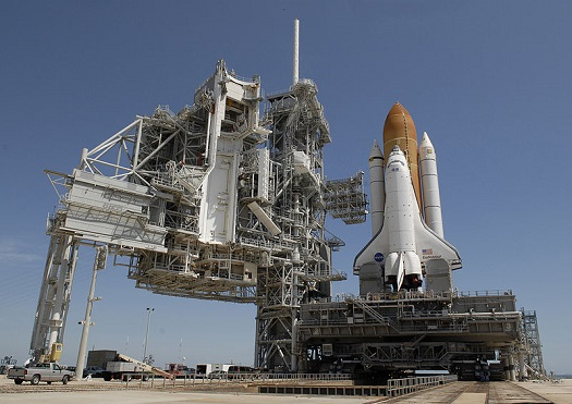 Launch Pad 39A with the space shuttle Endeavour. (Credit: NASA)