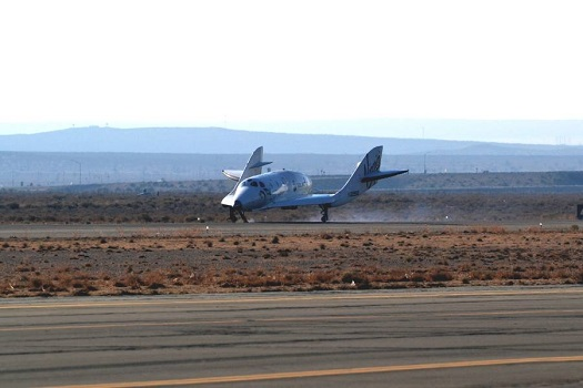SpaceShipTwo is back on the ground, safe and sound. Another successful glide flight, hitting all of our goals for today. (Credit: Scaled Composites/Jason DiVenere)