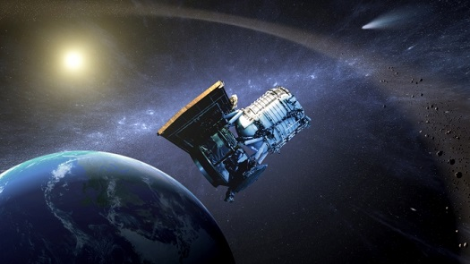 This artist's concept shows the Wide-field Infrared Survey Explorer, or WISE spacecraft, in its orbit around Earth. In September of 2013, engineers will attempt to bring the mission out of hibernation to hunt for more asteroids and comets in a project called NEOWISE. (Credit:  NASA/JPL-Caltech)