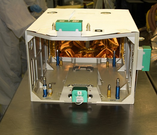 Image of the RRM On-orbit Transfer Cage, captured during launch preparations at NASA's Goddard Space Flight Center. (Credit: NASA)