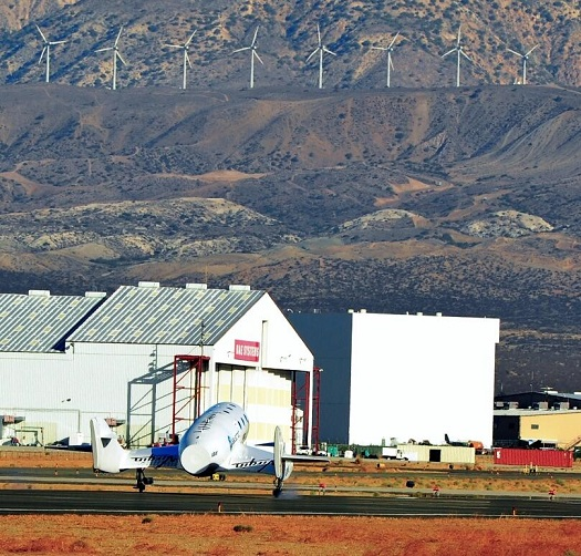 SpaceShipTwo lands after a successful feathered training flight. (Credit: Virgin Galactic)