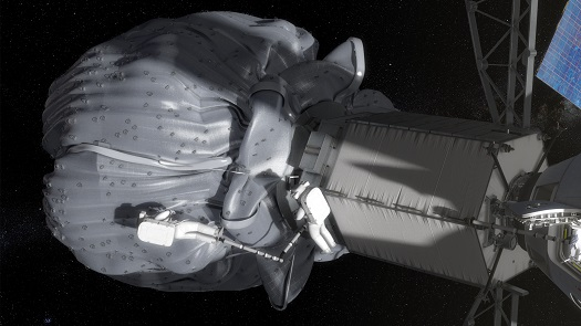 In this conceptual image, the two-person crew uses a translation boom to travel from the Orion spacecraft to the captured asteroid during a spacewalk. (Credit: NASA)