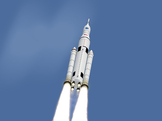 Artist concept of the SLS in flight. (Credit: NASA)