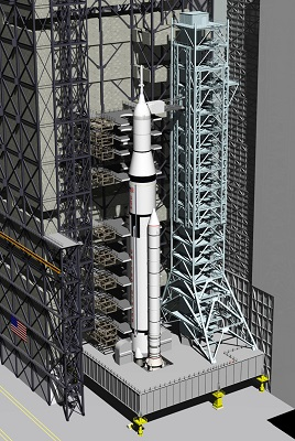 A conceptual look at the future of the VAB configured for processing the Space Launch System heavy-lift rocket. (Credit: NASA)