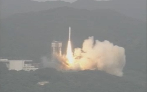 Japan's newest rocket, Epislon, lifts off from the launch pad. (JAXA webacast screen shot)