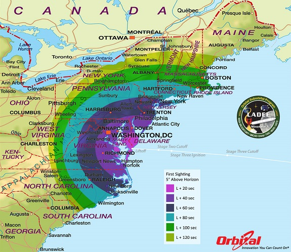 LADEE Launch Viewing Map - First Sight
