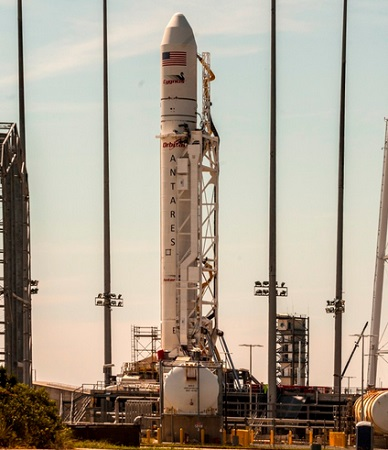 Antares on the launch pad at the Mid-Atlantic Regional Spaceport in Virginia. (Credit: Orbital Sciences Corporation)